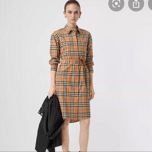 Burberry new Vintage cotton high waist shirt dress